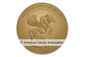 Gold book seal - Andrew Carnegie Medals for Excellence in Fiction