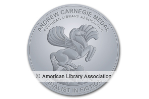 SIlver book seal - Andrew Carnegie Medals for Excellence in Fiction