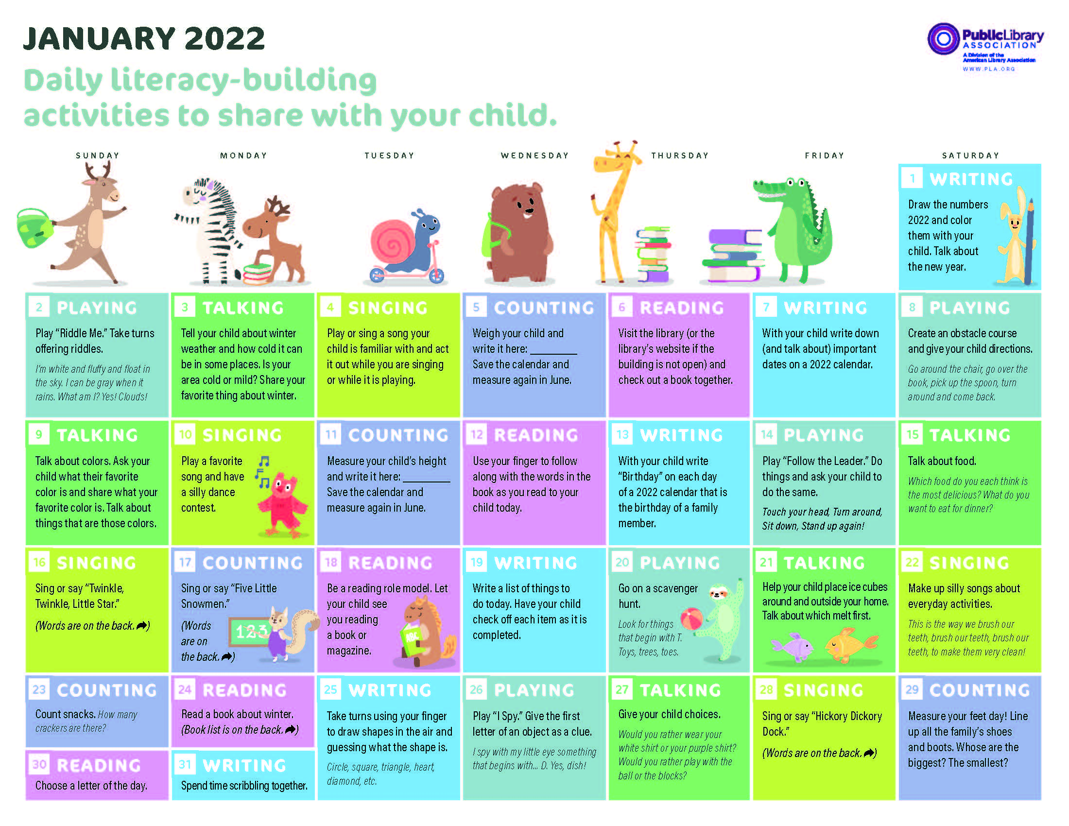 Image for PLA 2022 Early Literacy Activities Calendar—English Version—PDF download