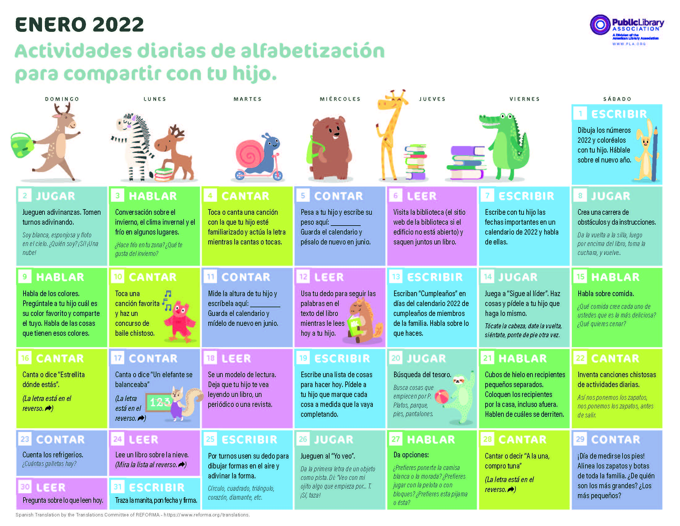 Image for PLA 2022 Early Literacy Activities Calendar—Spanish Version—PDF download