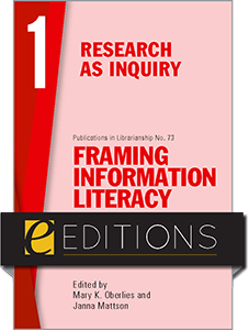 book cover for Framing Information Literacy (PIL#73), Volume 1: Research as Inquiry—eEditions PDF e-book