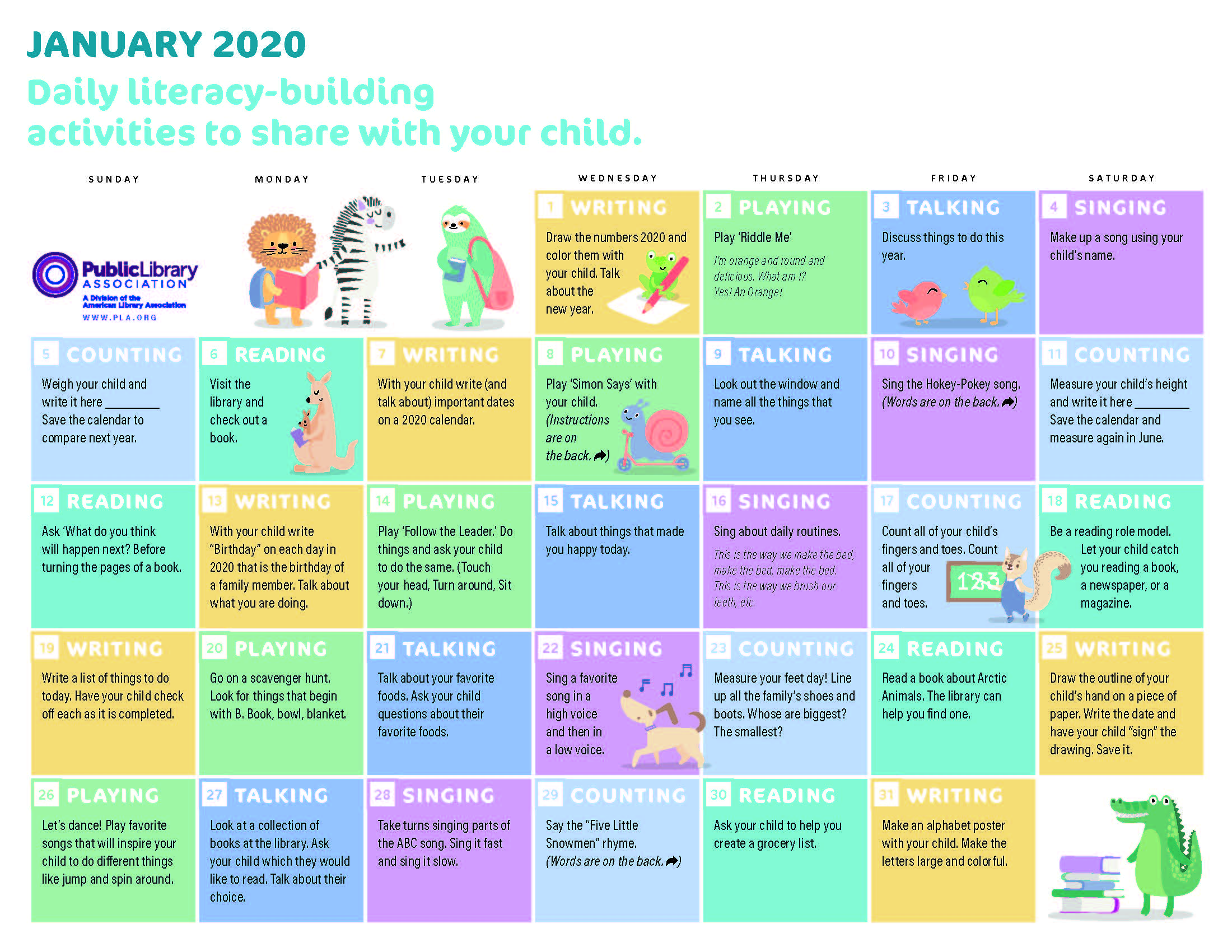 cover image of PLA 2020 Early Literacy Activities Calendar—PDF download