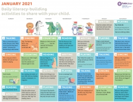 image for PLA 2021 Early Literacy Activities Calendar