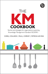 book cover for The KM Cookbook: Stories and Strategies for Organisations Exploring Knowledge Management Standard ISO30401