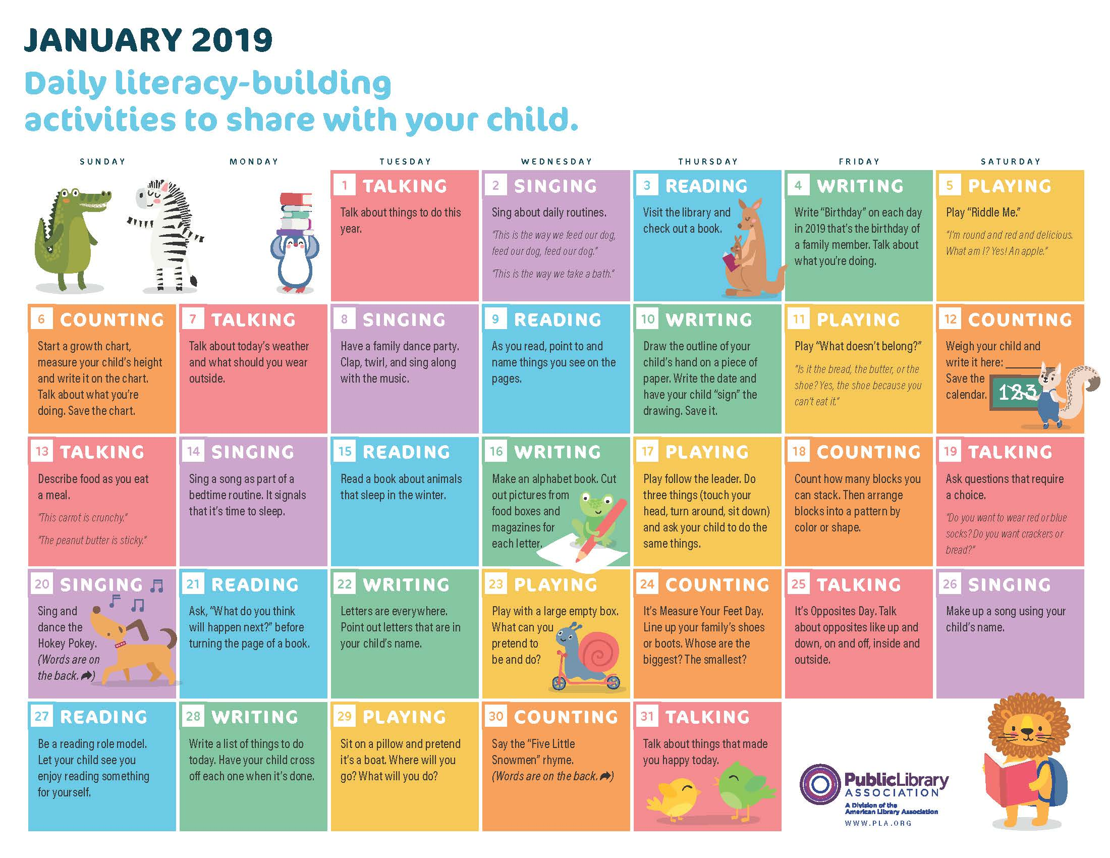 cover image for PLA 2019 Early Literacy Activities Calendar
