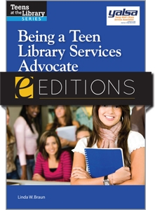 Cover image with YALSA logo, ALA eEditions logo, author name, photo of teen in foreground holding a notebook.