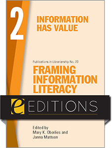 book cover for Framing Information Literacy (PIL#73), Volume 2: Information has Value—eEditions PDF e-book